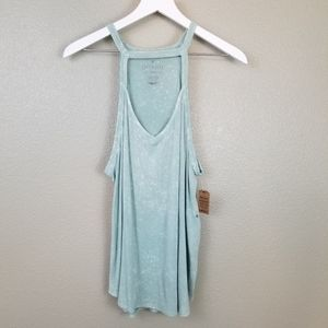 AE Soft & Sexy Tank Green Tie Dye Cut Out Halter
